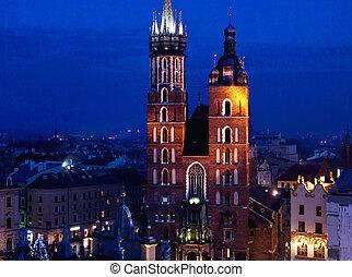 教会, メアリーの, st. 。, krakow, 夜