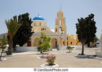 教会, 中に, 町, oia, santorini, ギリシャ
