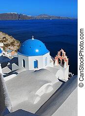 教会, 中に, oia, santorini, ギリシャ