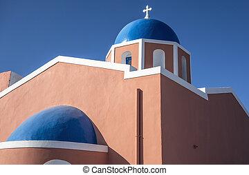 教会, 中に, oia, -, santorini 島, ギリシャ