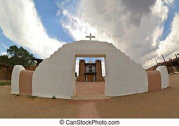 教会, 中に, taos の 村落, メキシコ\