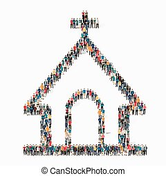 教会, 人々, shapem, 結婚式