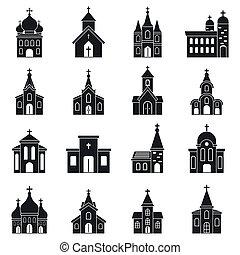 教会, 単純である, 建物, セット, スタイル, アイコン