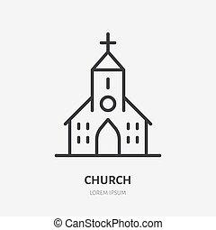 教会, 宗教, 線, キリスト教徒, 建物。, 印, ロゴ, アイコン, pictogram, ベクトル, チャペル, カトリック教, 家, イラスト