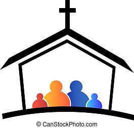 教会, 家族, 信頼, ロゴ