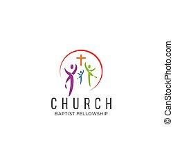 教会, 家族, 幸せ, インスピレーシヨン, 株, ロゴ, ベクトル, 共同体, デザイン, 白, アイコン, カラフルである, 背景