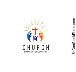 教会, 家族, 株, インスピレーシヨン, ロゴ, ベクトル, 共同体, デザイン, 白, アイコン, カラフルである, 背景