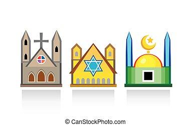 教会, 寺院, structures., ユダヤ人, イスラム教, 建築である, mosque., synagogue, 大聖堂, 宗教