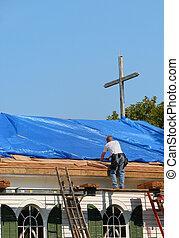 教会, 屋根, 修理