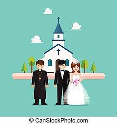教会, 平ら, 結婚式, スタイル, 式