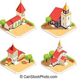 教会, 等大, セット, 4, アイコン