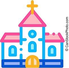 教会, 結婚式, ベクトル, 建物, 式, アイコン