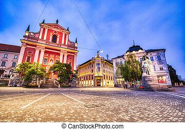教会, 美しい, 夕闇, franciscan, 中心, ljubljana, 都市