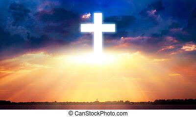 教会, 背景, 雲, 宗教, 交差させなさい, 明るい