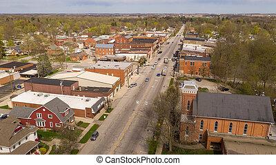 教会, 航空写真, 本, 光景, インディアナ, マンチェスター, 建物, 北, 通り