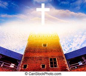 教会, 雲, 交差させなさい, 明るい