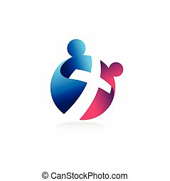 教会, 2人の人々, 概念, ロゴ