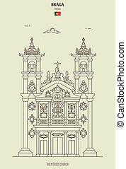 教会, braga, 交差点, ランドマーク, 神聖, portugal., アイコン