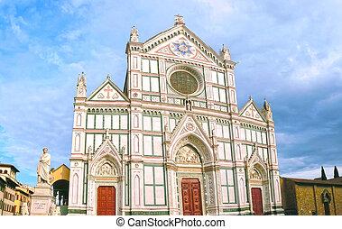 教会, croce, バシリカ, santa, franciscan, イタリア, -, ∥ディ∥, 有名, フィレンツェ