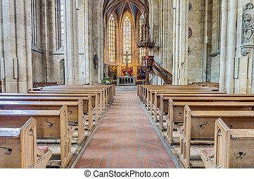 教会, esslingen, ドイツ, neckar, 私達の, 女性