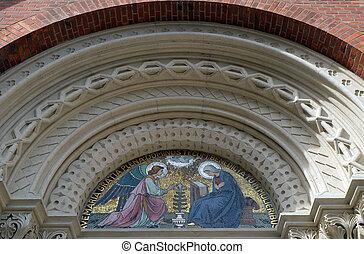 教会, lunette, 母, st. 。, 入口, の上, mary, franciscan, 慈悲, お告げの祝日...