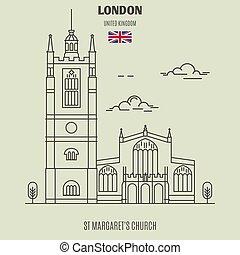 教会, uk., ロンドン, ランドマーク, アイコン, st., margaret's