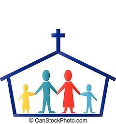 教堂, 同时,, 家庭, 标识语, 矢量