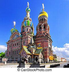 教堂, 在中, the, 救星, 在上, 溢出, 血液, 圣彼得堡, russia