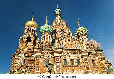 教堂, 在中, the, 救星, 在上, 溢出, 血液, st.petersburg, russia