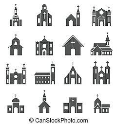 教堂, 建築物, 圖象, 矢量, 集合