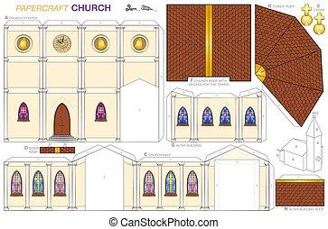 教堂, 建築物, 紙, 工藝, 樣板