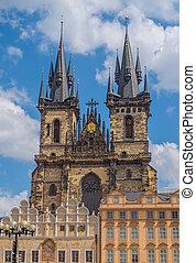 教堂, ......的, 我們, 夫人, 以前, tyn, 在, 布拉格, 捷克人, republic.