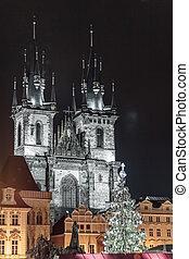 教堂, ......的, 我們, 夫人, 以前, tyn, 在, 布拉格, 捷克共和國