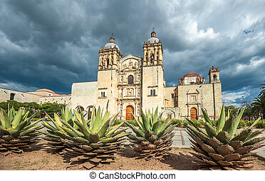 教堂, ......的, santo domingo, de, guzman, 在, oaxaca, 墨西哥