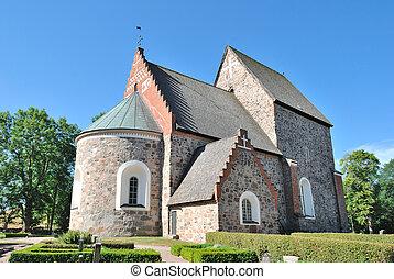 教堂, 老, sweden., uppsala