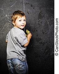 教室, かわいい, 小さい 男の子, 勉強, 若い, blac, 教師