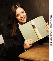 教室, かわいい, 黒板, 学生, 肖像画, 幸せ