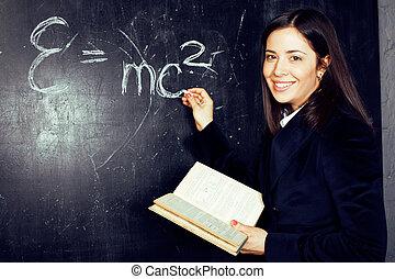教室, かわいい, 黒板, 背中, 学生, 肖像画, 幸せ