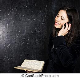 教室, かわいい, 黒板, 背中, t, 学生, 肖像画, 幸せ
