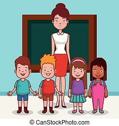 教室, わずかしか, 子供, グループ, 教師