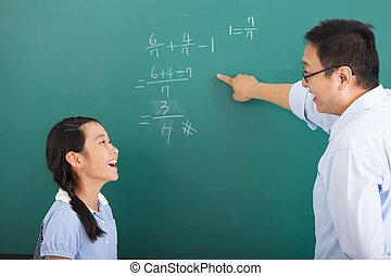 教室, わずかしか, 論じる, 女の子, 教師