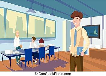 教室, グループ, ビジネス 人々, 大学, モデル, 講義, 学生, 机, セミナー