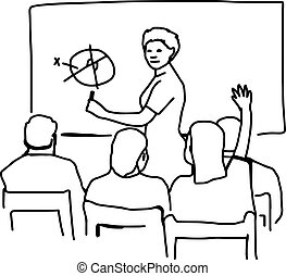 教室, スケッチ, 隔離された, イラスト, 手, ベクトル, 背景, 引かれる, 白