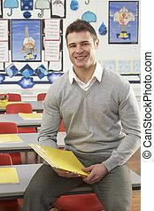 教室, モデル, 机, 肖像画, 男性の教師