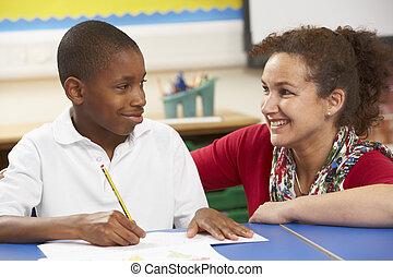 教室, 勉強, 教師, 男生徒
