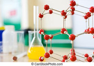 教室, 化學, 液体, 科學, desk., 公式, 實驗室玻璃器皿, 分子的模型, 結构