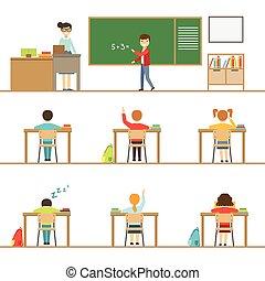 教室, 子供, 机, の後ろ, セット, イラスト, 数学