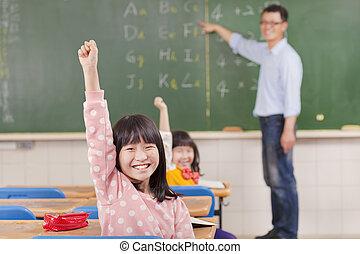教室, 学校レッスン, 子供