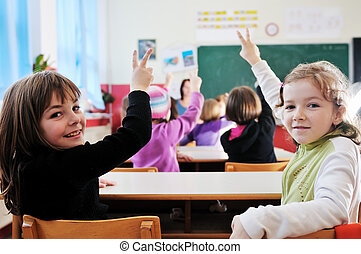 教室, 学校教師, 幸せ
