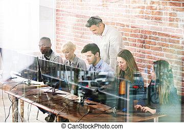 教室, 学校, コンピュータ, 教師, 学生